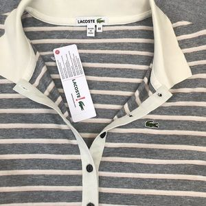 Lacoste Tops - Lacoste long sleeve V-neck collared striped shirt